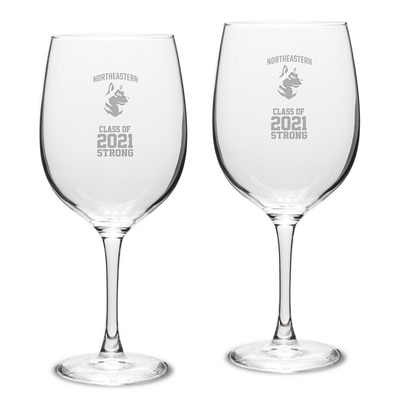 Northeastern Campus Crystal 19oz Set of 2 Red Wine Glass