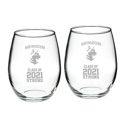 Northeastern Campus Crystal 21oz Set of 2 Stemless Wine Glass