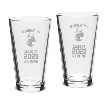 Northeastern Campus Crystal 16oz Set of 2 Pint Glasses