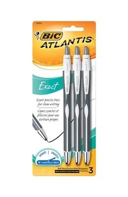 BIC Atlantis Exact Black Pen 3pk