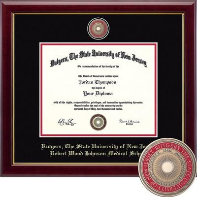 "Church Hill Classics 12"" x 18"" Masterpiece Cherry Robert Wood Johnson Medical School Diploma Frame"