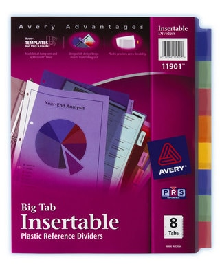 Plastic Insert Dividers 8 Tabs