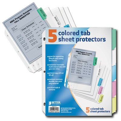 Better Sheet Protector 5 Color Tabs