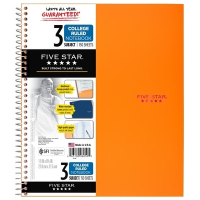 Five Star Trend Wirebound Notebook 3 Subject College Ruled 11 x 8 12 Assorted Colors