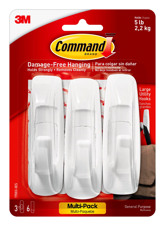 3M Command Adhesive 3 Pack Large Hooks