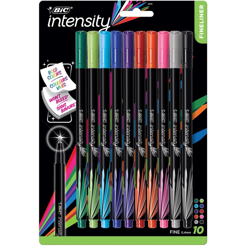 BIC Intensity Fineliner Marker Pens Fine Point 0.4mm Assorted Colors 10Pack