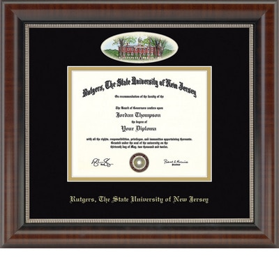 "Church Hill Classics 8.5"" x 11"" Campus Cameo Walnut Diploma Frame"