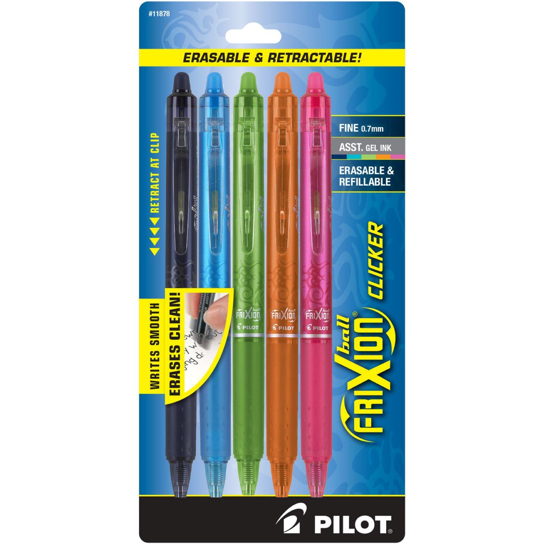 Pilot Frixion Clicker Erasable Gel Pen Fine 0.7mm 5Pack Assorted