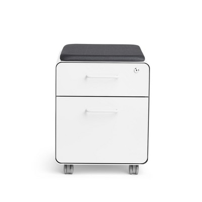 White Mini Stow 2-Drawer File Cabinet, Rolling