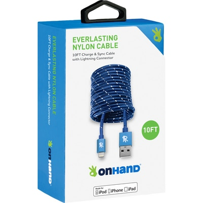 OnHand 10FT Lightning Cable Blue