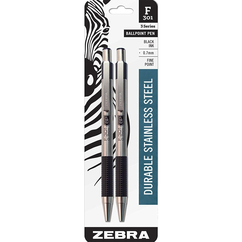 Zebra F301 Ballpoint Retractable Pen 0.7mm Black 2Pack
