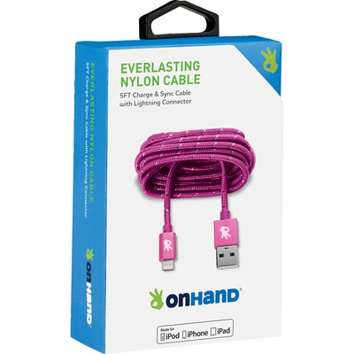 OnHand 5 FT Lightning Cable Pink