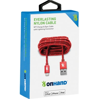 OnHand 5 FT Lightning Cable Red