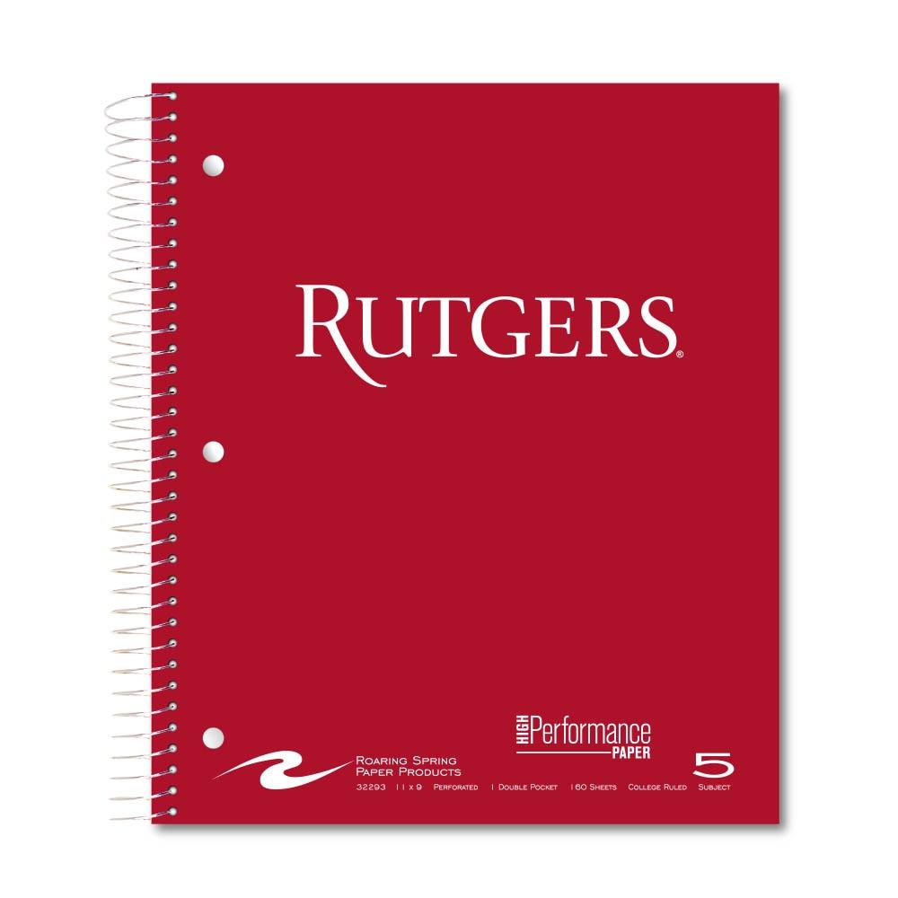 Roaring Premium 5 Subject Notebook 8.5x11 College Ruled  20lb Paper Pressboard Foil Cover