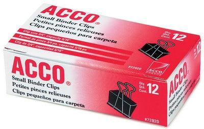 ACCO Binder Clips, Small, Black, 12 per Box