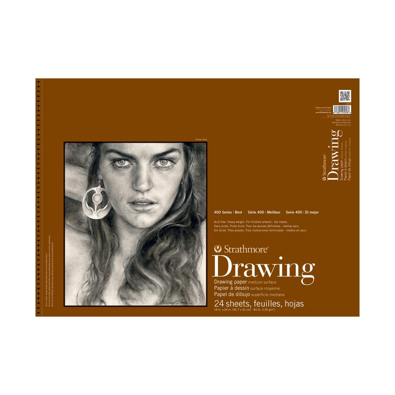 "Strathmore Drawing Paper Pad, 400 Series, Medium Surface, 18"" x 24"""