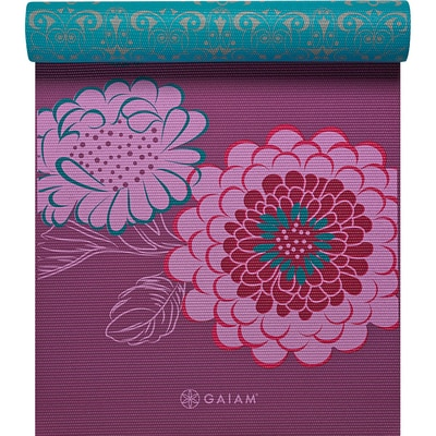 Gaiam Reversible Printed Yoga Mat Multi 5mm 1Ct Wrap Kiku