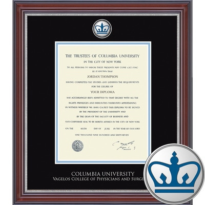 """Church Hill Classics 14"""" x 11"""" Masterpiece Cherry Vagelos College of Physicians and Surgeons Diploma Frame"""
