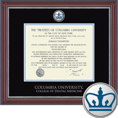 "Church Hill Classics 10.5"" x 12.5"" Masterpiece Cherry College of Dental Medicine Diploma Frame"