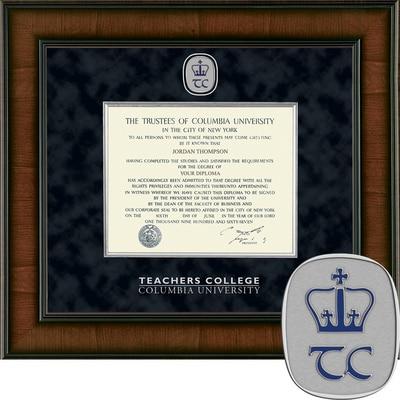 "Church Hill Classics 10.5"" x 12.5"" Presidential Walnut Teachers College Diploma Frame"