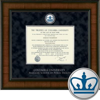 "Church Hill Classics 10.5"" x 12.5"" Presidential Walnut Mailman School of Public Health Diploma Frame"