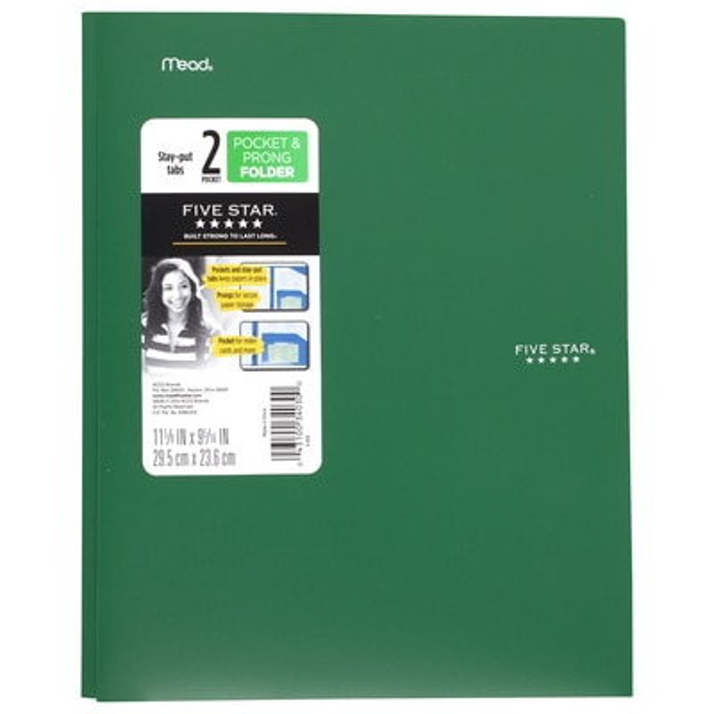Five Star StayPut Pocket & Prong Folder Assorted Colors