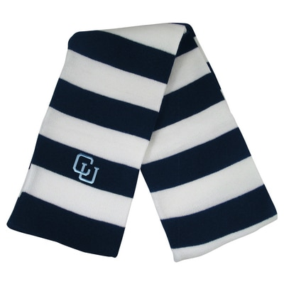 Columbia University LogoFit Niagara 2 Color Rugby Striped Knit Winter Scarf