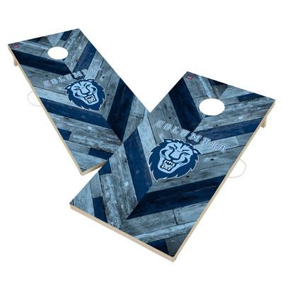 Columbia University Lions Solid Wood 2x4 Cornhole Board Set Herringbone Design
