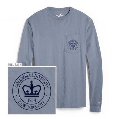 Columbia University League Vintage Washed Long Sleeve Pocket T Shirt