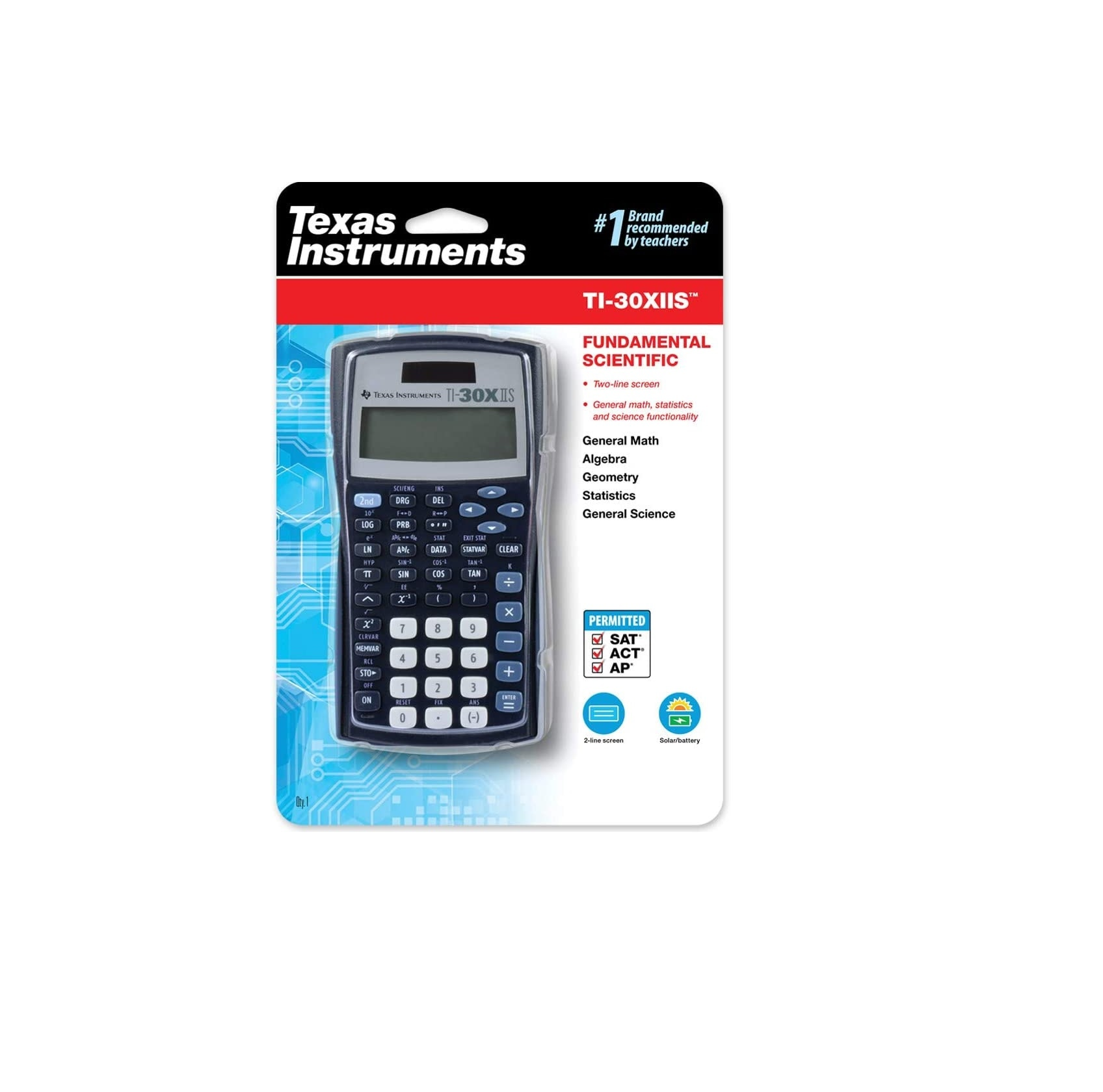 Scientific calculator with equation recall combines statistics and advanced scientific functions. Two-line display shows entries on the top line and results on the bottom line. Entry line on the top of the display shows up to 11 characters and can sc