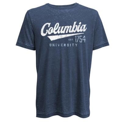 Columbia University Camp David Lifeguard Burnout Crewneck Short Sleeve T-Shirt