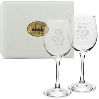 Columbia University Set 2 White Wine Glass