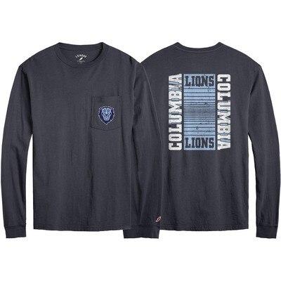 Columbia University League All American Ringspun Long Sleeve Pocket T-Shirt
