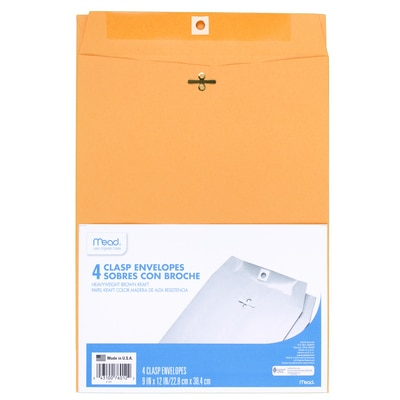 """Mead Clasp Envelopes, 9"""" x 12"""", Brown Kraft, 4 Count"""
