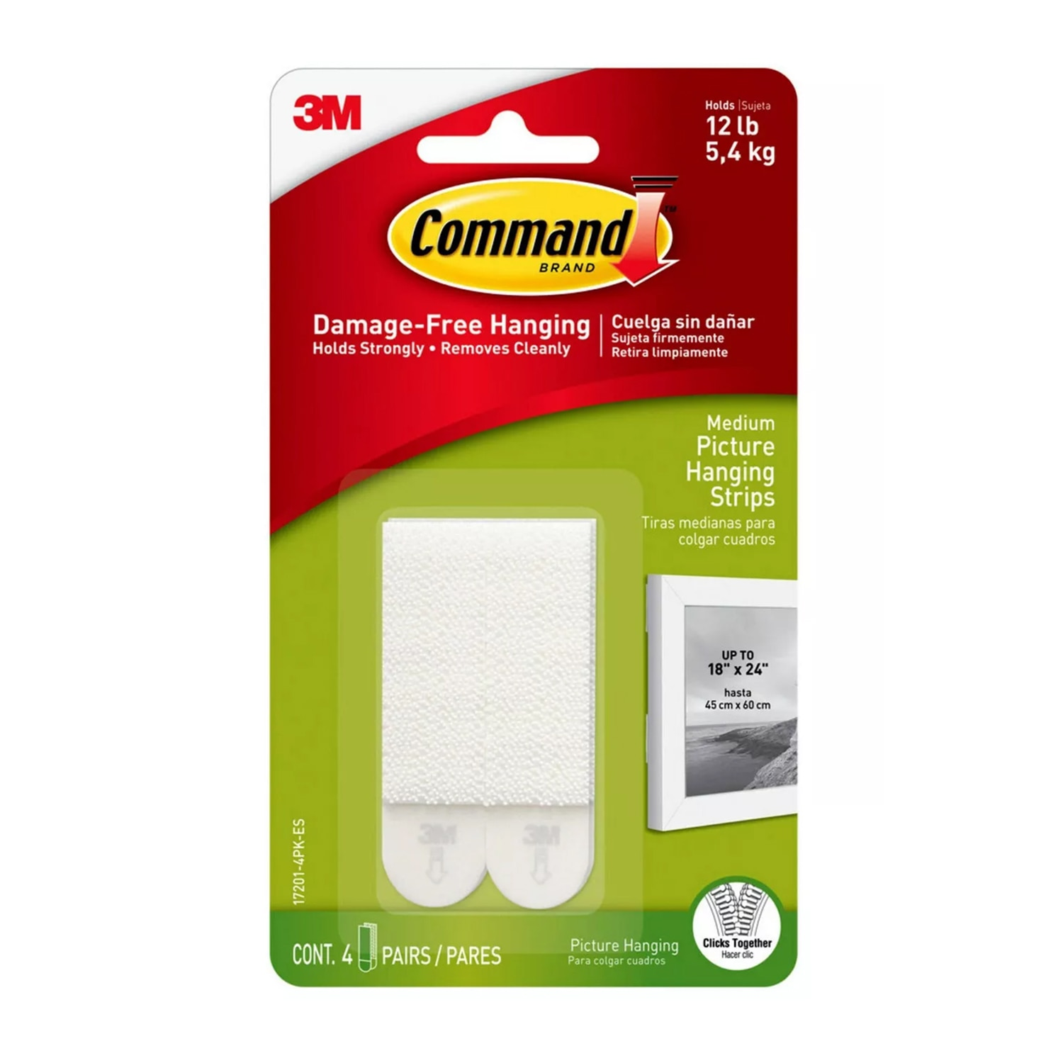 Command Medium Picture Hanging Strips 4 ea