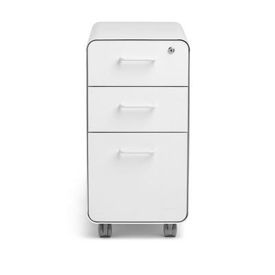 White Slim Stow 3-Drawer File Cabinet
