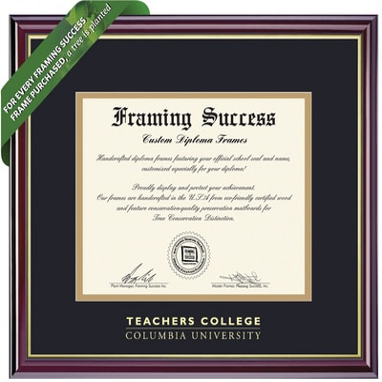 Framing Success 10.5 x 12.5 Windsor Gold Embossed School Name Teachers College Diploma Frame