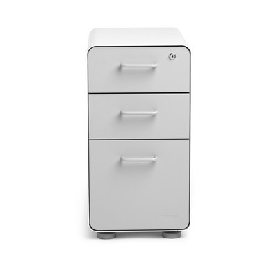 White + Light Gray Slim Stow 3-Drawer File Cabinet, Rolling
