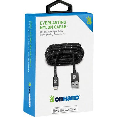 OnHand 5 FT Lightning Cable Black