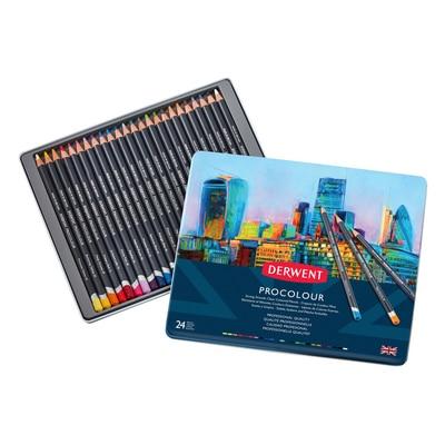 Derwent Procolour Pencil Set, 24-Pencil Tin Set
