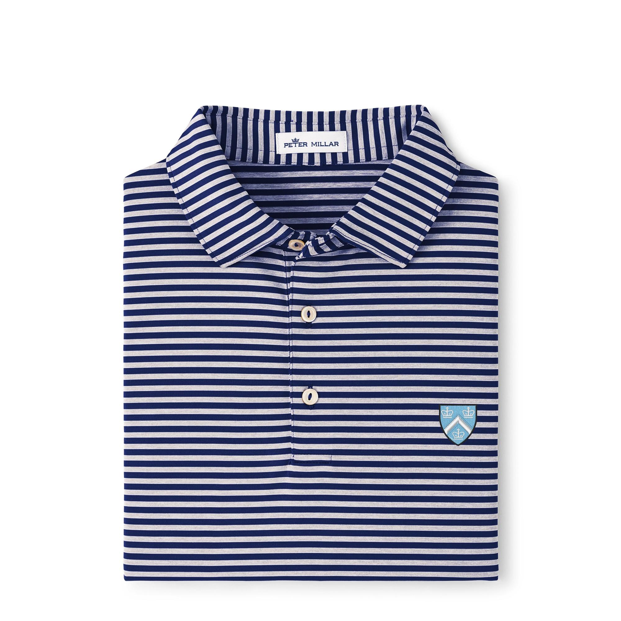 Columbia University Peter Millar Men's Mills Stripe Stretch Jersey Polo