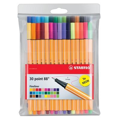 STABILO Point 88 Pen Set, 30-Color Wallet Set