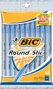 BIC Round Stic Xtra Life Ball Pen Medium 1.0mm Blue Ink 10 Count