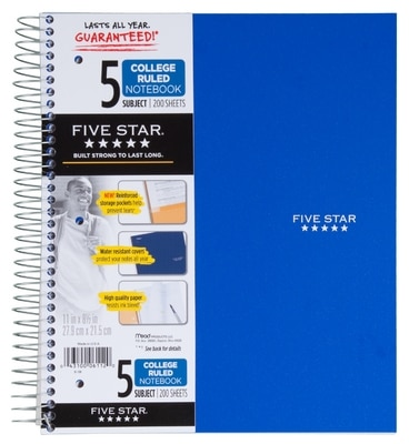 Five Star Trend Wirebound Notebook 5 Subject College Ruled 11 x 8 12 Assorted Colors