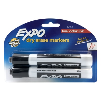 Expo Dry Erase Chisel Tip Black Markers 2 ct