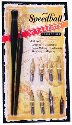 Speedball Artist Set No. 5, 6 Dip Pen Nibs with Holder and Crowquill Pen