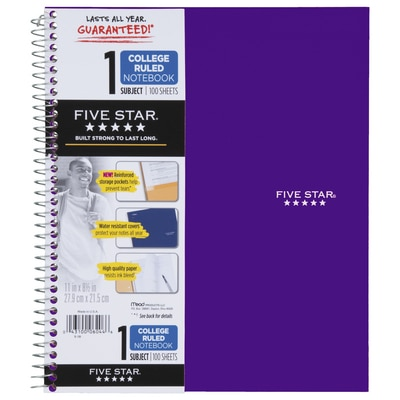 Five Star Trend Wirebound Notebook 1 Subject College Ruled 11 x 8 12 Assorted Colors