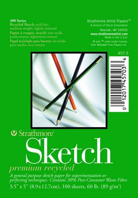 """Strathmore Sketch Paper Pad, 400 Series, Recycled, 5"""" x 8"""" , 100 Sheets"""