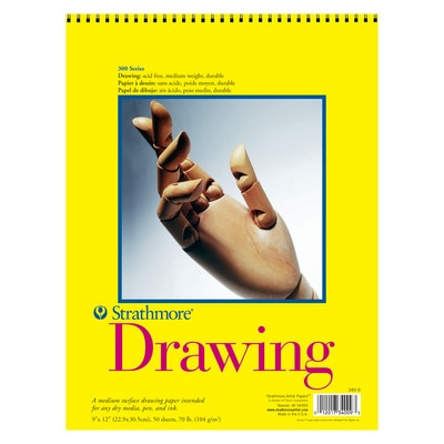 """Strathmore Drawing Paper Pad, 300 Series, 20 Sheets, 9"""" x 12"""", Spiral Bound"""