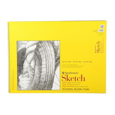 """Strathmore Sketch Paper Pad, 300 Series, Spiral-Bound, 18"""" x 24"""", 30 Sheets"""